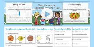 Using Commas To Separate Items In A List Lesson Teaching Pack
