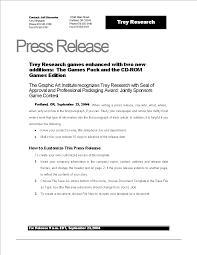 Templates For Press Releases Press Release Example New Game Templates At