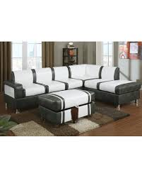 ultra modern two tone faux leather sectional sofa with ottoman cream gray