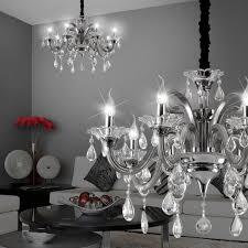 Mia Light Kristall Kronleuchter ø780mm Antik Grau Glas Lampe Leuchte