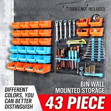 wall mount storage bin new parts garage unit shelving organiser box mounted rack tool plastic bins uk