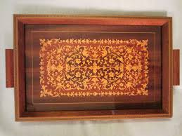 marquetry fl bird motif impressive wood serving tray with two handles super shine hand crafted fine art work very good condition