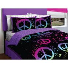 Peace Sign Bedroom Decor Latitude Peace Paint Reversible Bed In A Bag Bedding Set Walmartcom