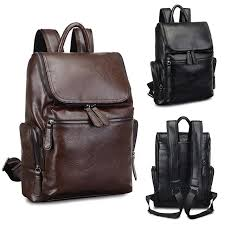 waterproof 15 6 inch laptop backpack men s fashion pu leather backpacks for hiking travel camping black cod