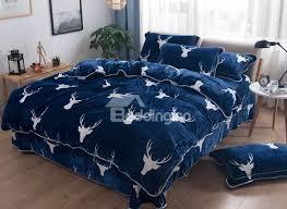 white deer head printed blue super soft 4 piece bedding sets duvet cover beddinginn com