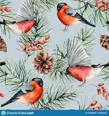 Fabric Painting Designs Of Birds Watercolor Winter Seamless Pattern With Bullfinches Hand