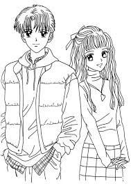 Small Picture Anime Coloring Page to Print Boy and Girl Anime Coloring Page to