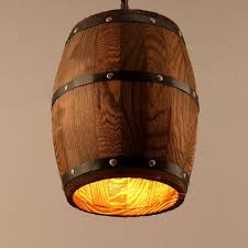 Bamboo Barrel Lights Country Wooden Barrel Pendant Lights Lamp Creative Loft E26