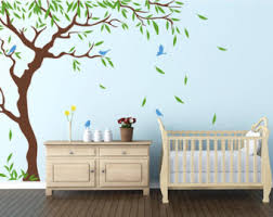nursery tree birds and flying leaves decal ideas stick on wall art decals for walls personalized wall decals large tree sd 088 on wall art decals with willow wall decal etsy