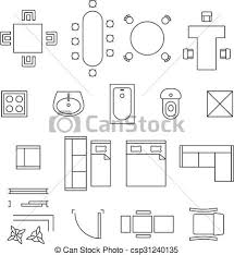 floor plan symbols. Furniture Linear Vector Symbols. Floor Plan Icons Set Symbols L