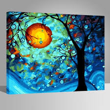 wooden frame diy oil painting paint by number kit dream tree van gogh 16x20 art
