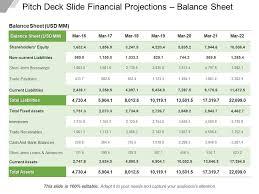 Balance Sheet Projections Pitch Deck Slide Financial Projections Balance Sheet