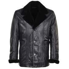 lambskin leather and sheepskin lined coat blue montreal