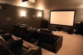 lighting ideas for basement. Basement Home Theater The Cream Wall Combined Cool Modern Lamp Elegant Lighting Ideas Brown Color Leather Reclining Chairs Tv For
