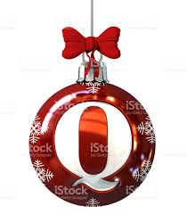 Letter Q on Red Christmas Ball royalty-free stock photo