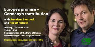 Baerbock is originally from the northwestern german state of lower saxony.1. Europe S Promise Germany S Contribution Debate With Annalena Baerbock And Robert Habeck 1 October 2019 13 00 14 30 Representation Of The State Of Baden Wurttemberg To The European Union Sven Giegold Mitglied Der Grunen Fraktion Im