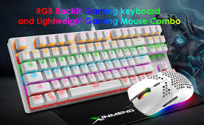Wired Gaming <b>Keyboard</b> and Mouse Combo,87 Keys Compact ...