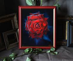 flower paintings handmade livemaster handmade red rose oil painting