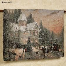 Christmas Wall Art Thomas Kinkade Lighted Victorian Christmas Wall Tapestry