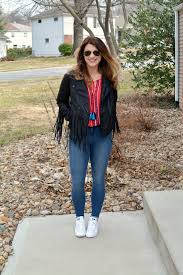 ashley from lsr in a fringe faux leather jacket peasant blouse and stan smith
