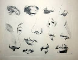 old feature drawing eyes mouths and noses