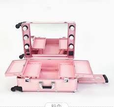 3 types professional rolling studio makeup artist cosmetic case beauty trolley light mirror box pink train