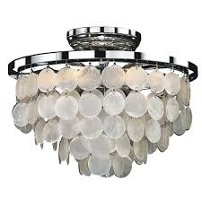 capiz shell lighting fixtures. Glow Lighting Bayside 6-Light Capiz Shell And Chrome Frame FLush Mount Fixtures R