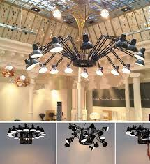 industrial lighting chandelier. Shopping Mall Large Red Black Metal Chandelier Exhibition Show Novelty Lighting Spider Industrial E27 Luces-in Chandeliers From Lights