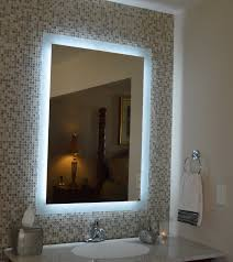 makeup organizers chic lighted wall bathroom mirror on mosaic tile and vanity table with undermount sink