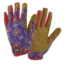 miracle gro women s medium purple tan leather garden gloves