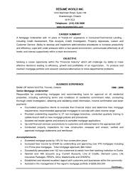 Mortgage Underwriter Resume Resume For Your Job Application
