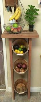 build a produce storage stand with reclaimed wood and some woven baskets