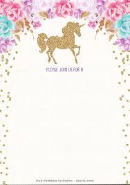 Free Printable Golden Unicorn Birthday Invitation Template Drevio