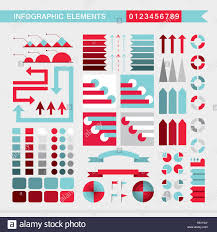Set Of Infographic Elements Charts Graph Diagram Arrows