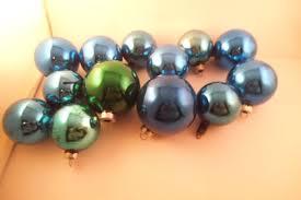 vintage lot of 13 mercury glass ornaments blue green