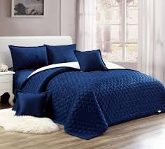 moon compressed two sided velvet comforter set king size blue 6 pieces
