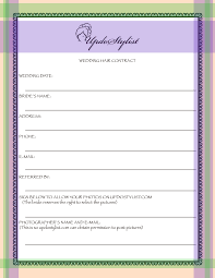 Free Bridal Hair Contract Template 21gowedding Com