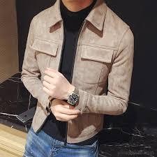 slim lapel men s jacket thickening coat leather suede winter clothes ivory