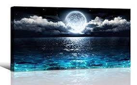 Amazon.com: <b>Wall Art</b> Moon <b>Sea Ocean Landscape</b> Picture Canvas ...