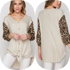Honeyme Size Chart New Leopard Sleeve Beige Button Down Honeyme Top Size S M