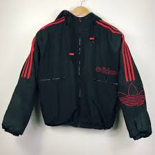 Black red vintage adidas jacket