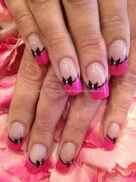 Eye Candy Nails & Training - Pink and black nail art on acrylic ...