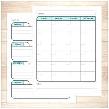 Calendar Planner Teal Monthly Weekly Pages Printable At