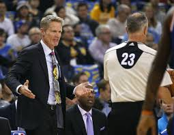 is trouble brewing golden state san francisco chronicle golden state warriors head coach steve kerr argues a call referee jason phillips 23