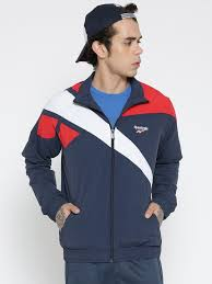 reebok jacket. reebok classic men navy lf vector tracktop colourblocked jacket