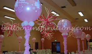 christening balloon decorations baby pink and white