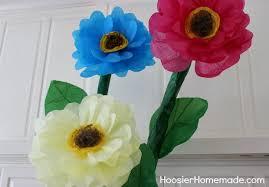 Paper Flower Stems How To Make Giant Tissue Paper Flowers Hoosier Homemade