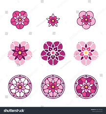 Beautiful Flower Designs For Glass Painting Pink Stylized Flower Logo Floral Composition Stock Vector