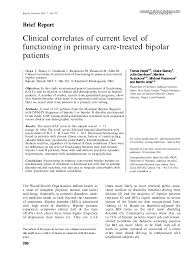 Pdf Clinical Correlates Of Current Level Of Functioning In