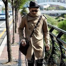 harajuku 2016 brand peacoat men military jacket men fashion medium long slim trench coats long mens khaki coat turtleneck men